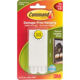 White 4 Sets/Pkg - Command Large Picture Hanging Strips