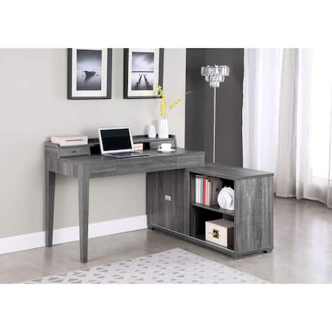 Jamara Weathered Grey L-shape Office Desk with Power Outlet