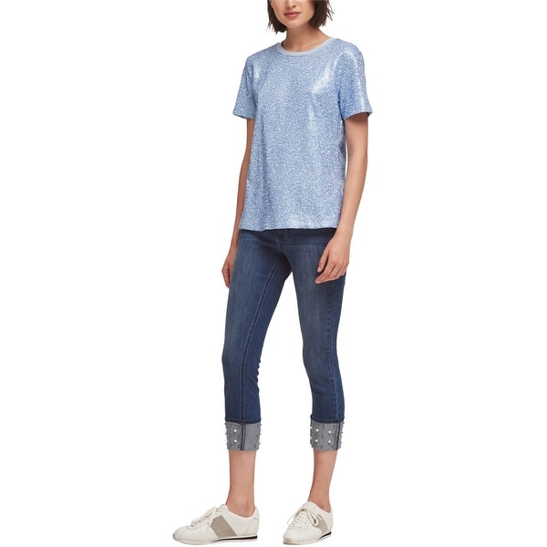 DKNY Womens Sequined Embellished T-Shirt, Blue, Medium. Opens flyout.
