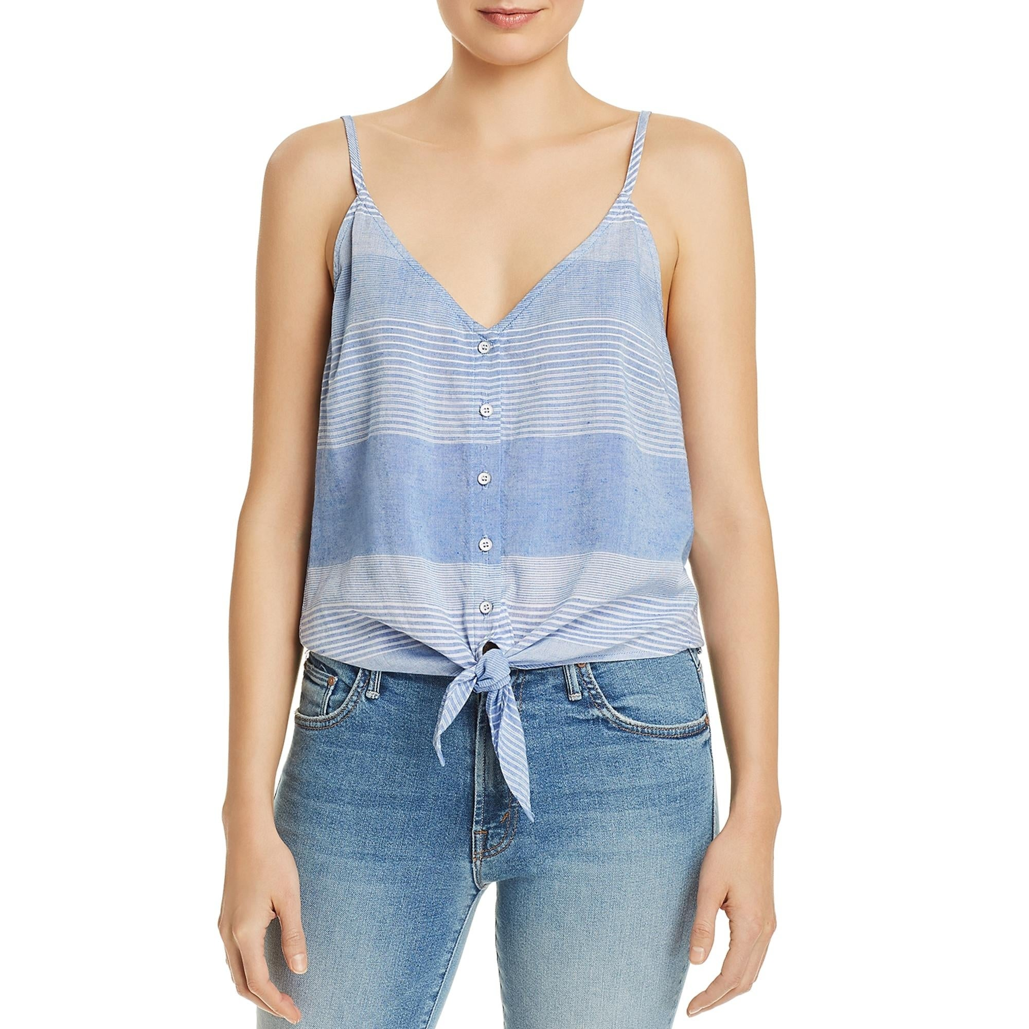 Bella Dahl Womens V-Neck Cropped Button-Down Top