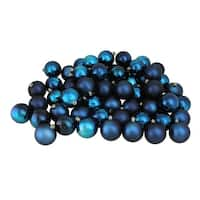 "60ct Sapphire Blue Shiny and Matte Shatterproof Christmas Ball Ornaments 2.5"" (60mm)"