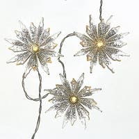 """Pack of 10 Warm White Snowflake Christmas Decorative Party LED Lights 18"""""""