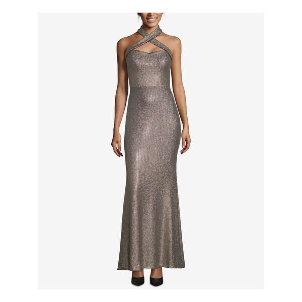 XSCAPE Womens Gold Sleeveless Full-Length Evening Dress Size 2. Opens flyout.