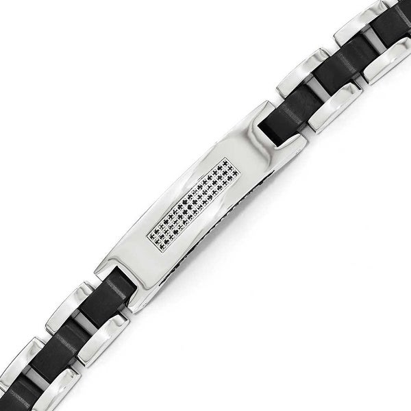 Chisel Stainless Steel Brushed and Polished Black IP-Plated and CZ Bracelet