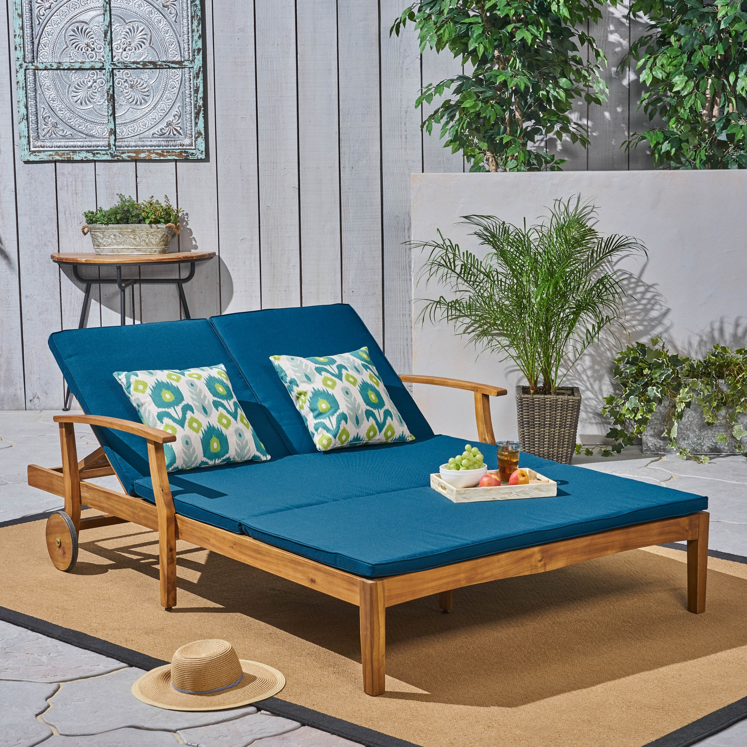 Perla Outdoor Wood Double Chaise Lounge By Christopher Knight Home Overstock 24196726