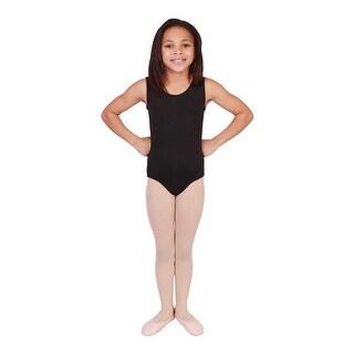 Girls Black Solid Color Full Front Lining Tank Dancewear Leotard