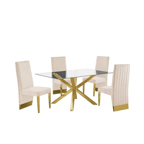 Best Quality Furniture Contemporary Glass 5-pc Dining Set w/ Pleated Chairs