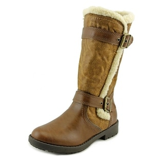 Nine West Monica Youth Round Toe Synthetic Brown Mid Calf Boot
