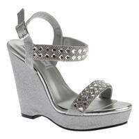 Touch Ups Women's Brynn Platform Wedge Silver Shimmer