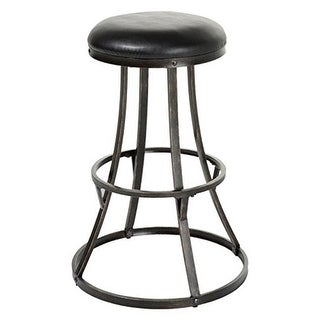 30 in. Dover Metal Barstool with Black Upholstered Swivel-Seat &