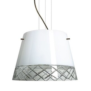 Besa Lighting 1KV-4340WC-LED Amelia 3 Light LED Cable-Hung Pendant with White / Hand-Cut Glass Shade