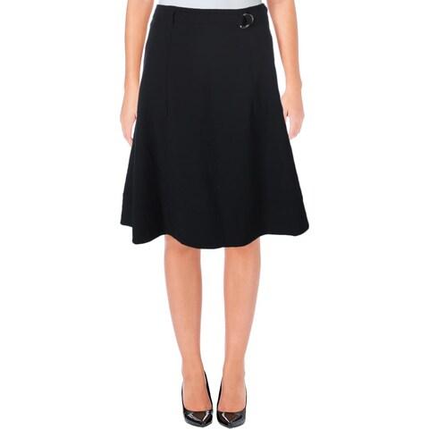 Calvin Klein Womens Petites A-Line Skirt Belted Exposed Back Zipper