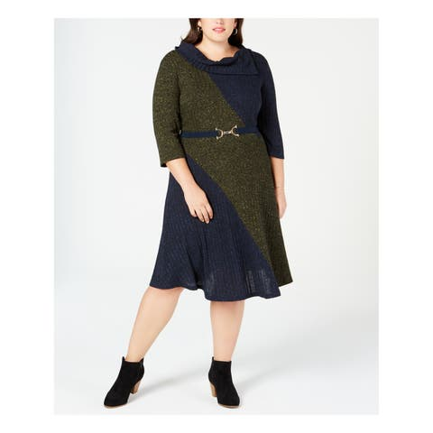 ROBBIE BEE Womens Green Belted Sweater Color Block 3/4 Sleeve Cowl Neck Below The Knee Dress Plus Size: 1X
