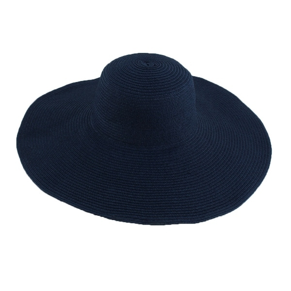 Lady Travel Wide Brim Straw Braided Summer Beach Sun Bucket Hat Sunhat Navy  Blue b99ba9c9c52