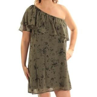 KENSIE $79 Womens New 1077 Green Floral Mini Shift Dress L B+B