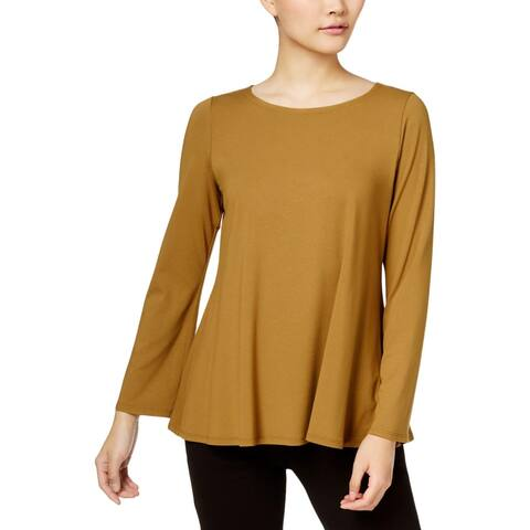 Eileen Fisher Womens Pullover Top Ballet Neck Long Sleeves