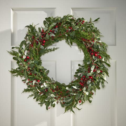 "Valdosta Indoor 26"" Artificial Olive Leaf Wreath with Berries by Christopher Knight Home - Green + Red"