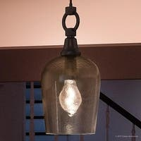"Luxury Old World Hanging Pendant Light, 18.5""H x 9.25""W, with Contemporary Style, Unique Design, Estate Bronze Finish"