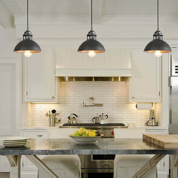 """Rustic 1-Light Pendant Lighting Dome Hanging Ceiling Lights for Dining Room - D9"""" x H7.3"""". Opens flyout."""