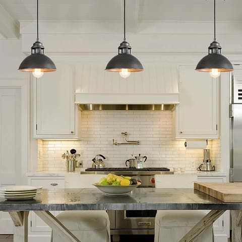 """Rustic 1-Light Pendant Lighting Dome Hanging Ceiling Lights for Dining Room - D9"""" x H7.3"""""""
