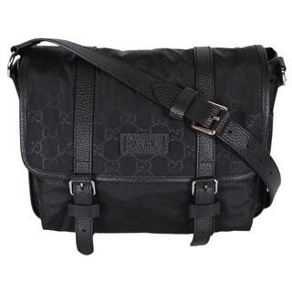 """Gucci 510335 Black Nylon Leather GG Guccissima Messenger Bag Crossbody Purse - 11.5"""" x 9.5"""" x 5"""""""