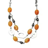 Chisel Stainless Steel Red/Orange Agate 24 with 1.5 Inch Extension Necklace (25 mm) - 24 in