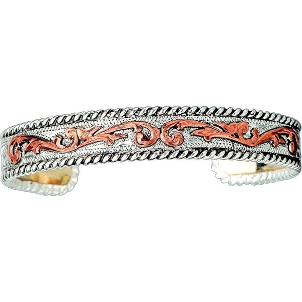 Bar V Western Womens Bracelet Narrow Engraved Accents Silver 314-224