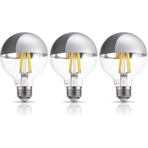 3 Pack G25 Half Chrome Light Bulb, Warm White 3000K - 7W