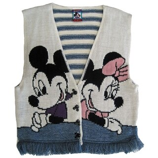 Disney Girls White Blue Mickey Minnie Knit Fringed Sleeveless Top 7-16