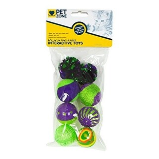 Pet Zone Rollin Fun Interactive Cat Toys Assorted, 8 Piece