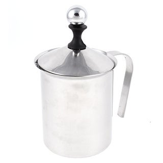 Stainless Steel Double Mesh Coffee Milk Frother Foamer Pump Silver Tone 800ml