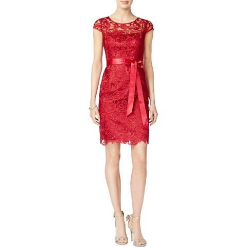 Adrianna Papell Womens Special Occasion Dress Lace Illusion