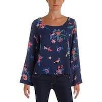 Aqua Womens Blouse Floral Print Bell Sleeves