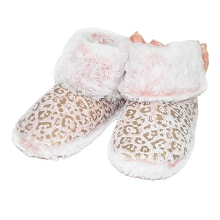 Pretty You London Women's Fluffy Leopard Print Bootie with Bow Accent