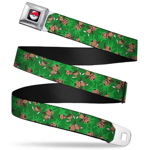 Pok Ball Full Color Black Chespin Poses Scattered Green Webbing Seatbelt Seatbelt Belt