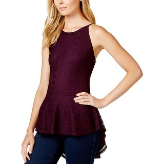 Stoosh Womens Juniors Peplum Top Lace Crisscross Back
