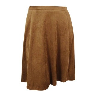 Tahari Women's Faux-Suede Flare Skirt