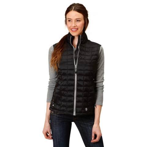 Roper Western Vest Womens Down-Like Quilted Zipper - Black