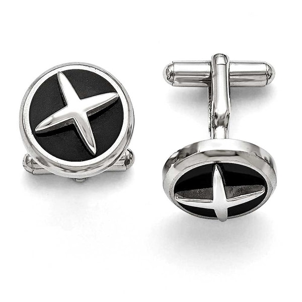 Chisel Stainless Steel Polished Enameled X Cuff Links