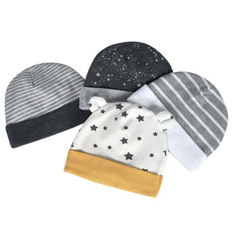 Just Born® Baby Boys' 4-Pack Organic Lil' Lion Hats