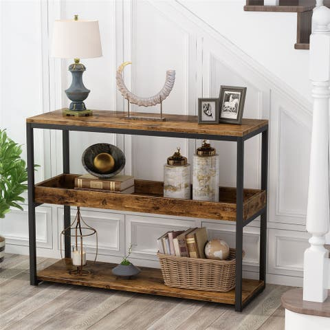 Sofa Entryway Table TV Console Stand 3-Tier Industrial Side Table
