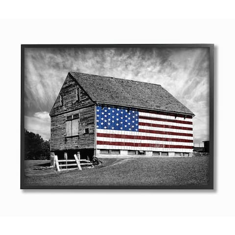 The Stupell Home Decor Collection Black and White Farmhouse Barn American Flag, Framed Giclee, 16 x 1.5 x 20, Made in USA