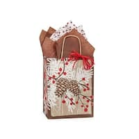 """Pack of 250, Cub Woodland Berry Pine Paper Bags 8 X 4.75 X 10.25"""" 100% Recyclable, Made In Usa"""