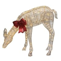 "40.5"" Twinkling LED Lighted Feeding Reindeer Outdoor Christmas Decoration - brown"