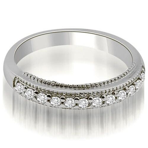 0.20 cttw. 14K White Gold Round Cut Milgrain Diamond Wedding Ring