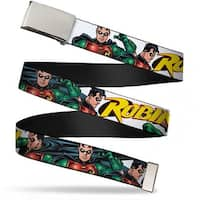 Blank Chrome  Buckle Robin Red Green Poses White Webbing Web Belt