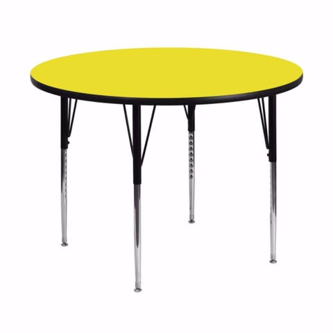 Offex 48'' Round Activity Table with 1.25'' Thick High Pressure Yellow Laminate Top and Standard Height Adjustable Legs