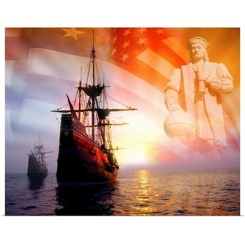 """""""Sailing ships, statue of Christopher Columbus and American flag"""" Poster Print"""
