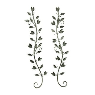 Set of 2 Silver Finish Leaves on Branches Metal Wall Sculptures