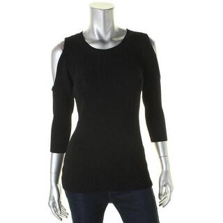 Aqua Womens Pullover Sweater Textured Cold Shoulder